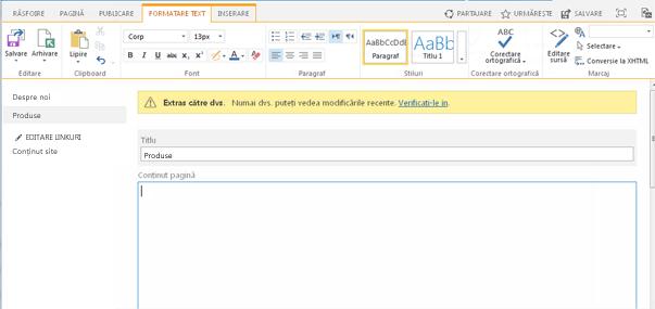 Captură de ecran cu o nouă pagină de publicare, cu o bară galbenă indicând faptul că pagina este extrasă