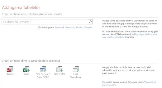 Adăugarea tabelelor într-o aplicație web Access