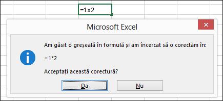 Casetă mesaj care vă solicită să înlocuiți x cu * pentru înmulțire