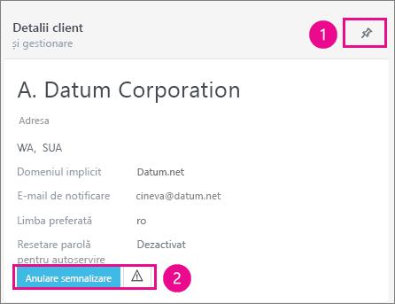 În fișa Detalii client puteți fixa sau semnaliza clientul.