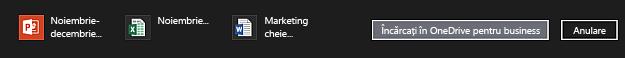 Bara de acțiune cu elemente selectate pentru încărcarea în OneDrive pentru business