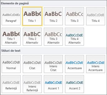 Capturile de ecran cu Elemente de pagină și Stiluri de text sunt disponibile în grupul Stiluri din panglica SharePoint Online.