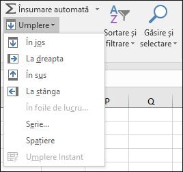 Completarea opțiuni de pornire > Editare > umplere