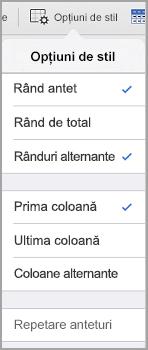 iPad Opțiuni stil tabel