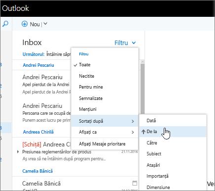 Captură de ecran a unui inbox cu opțiunile Filtrare > Sortare după > De la selectate.