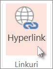 Pe fila Inserare, faceți clic pe Hyperlink.