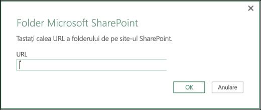 Caseta de dialog a conectorului Folder SharePoint din Excel Power BI