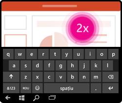 Gest de activare a tastaturii PowerPoint pentru Windows Mobile