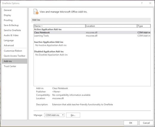 Panoul de completare Office gestionare în blocnotes școlar selectat. Secțiunea de gestionare programe de completare COM cu butonul Go.
