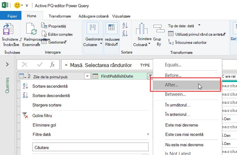 Editor Power Query afișând un meniu filtru de date