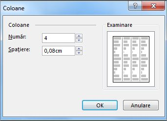 Captură de ecran cu Instrumente casetă text Mai multe coloane în Publisher.