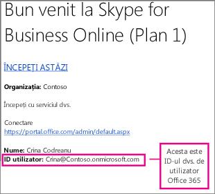 Un exemplu de e-mail de întâmpinare pe care l-ați primit după ce v-ați înscris la Skype for Business Online. Acesta conține ID-ul dvs. de utilizator Office 365.