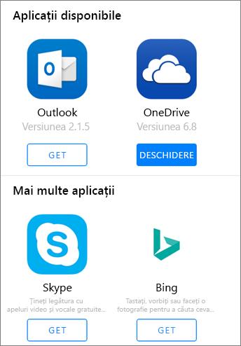 Afișează Outlook, OneDrive, Bing și Skype ca aplicațiile disponibile pentru a obține în Office 2016 pentru lansatorul de aplicații pe iPad.