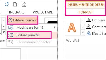 Comanda editare puncte accesate din forme de editare pe fila Format instrumente de desen