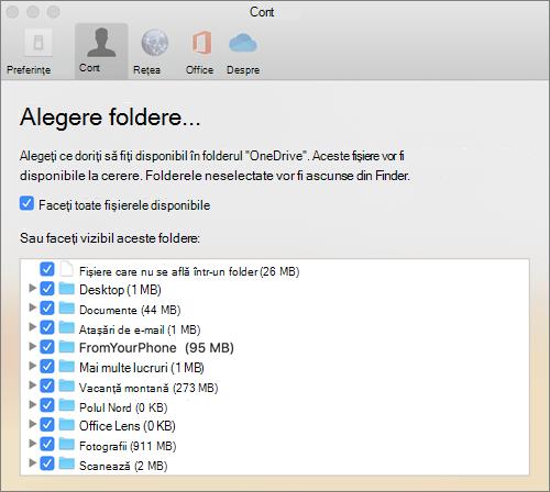 Caseta de dialog alegere foldere de sub fereastra Preferințe OneDrive pentru Mac