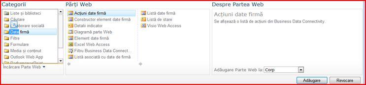 Selectorul de părți web afișează partea web Excel Web Access