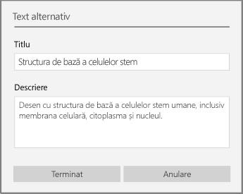 Caseta de dialog Text alternativ pentru adăugarea textului alternativ în OneNote pentru Windows 10.