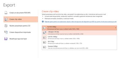 Captură de ecran a casetei de dialog Export care afișează opțiunile disponibile atunci când creați un videoclip bazat pe o prezentare