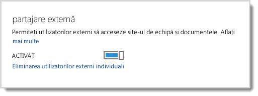 Imagine ilustrând controlul de activare/dezactivare pentru a permite accesul utilizatorilor externi la site-ul dvs. de echipă și la documente.