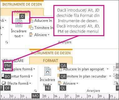 Comenzi rapide de la tastatură noi, utilizând litere duble, care deschid fila Instrumente de desen.