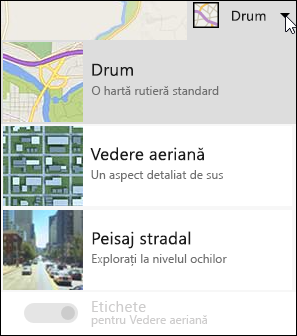Tipul de asociere la parte Web de hartă Bing