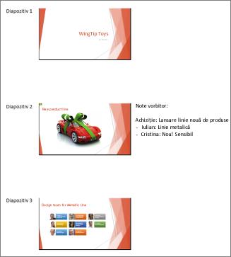 Diapozitivele imprimate așa cum apar în Word