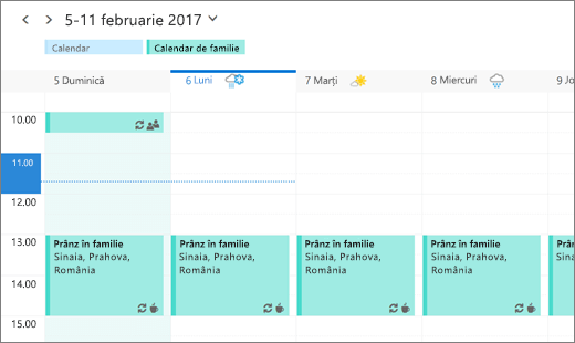 Captură de ecran a Calendarului Outlook afișând un eveniment de familie partajat.