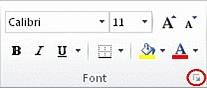 Lansatorul casetei de dialog din grupul Font