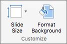 Captură de ecran afișează grupul Particularizare cu opțiunile pentru dimensiune diapozitiv și Format fundal.