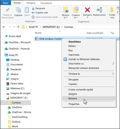 Faceți clic dreapta pe orice fișier în Windows Explorer pentru a redenumi.