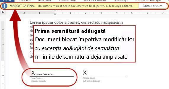 Document cu prima semnătură adăugată, deci blocat pentru modificări