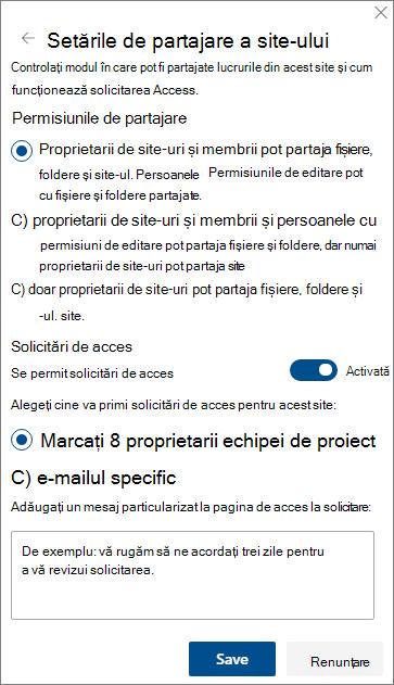 Captură de ecran a panoului Setări partajare site.