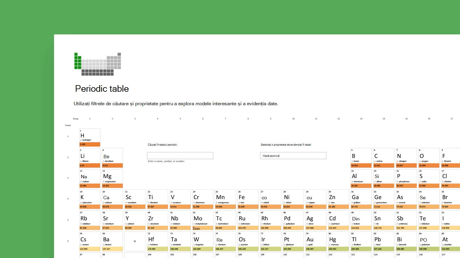 Captură de ecran a șablonului de tabel inteligent Periodic.