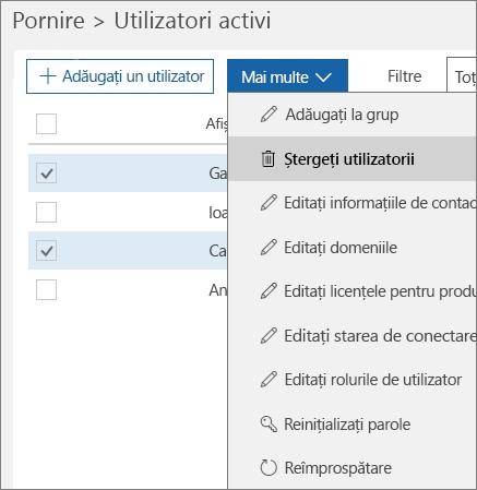 Ștergeți mai multe conturi de utilizator din Centrul de administrare Office 365.