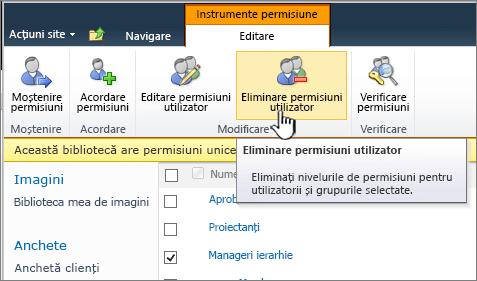 Butonul Eliminare utilizator permisiuni