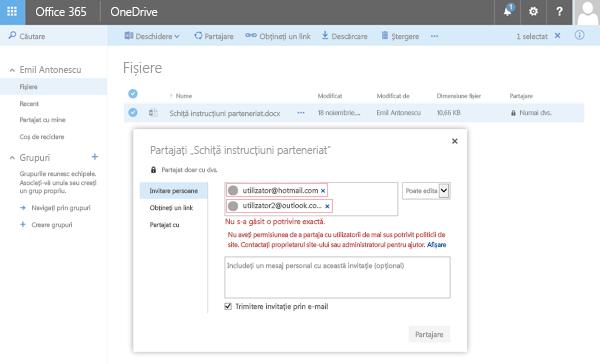 Utilizatorii primiți această eroare atunci când încercați să partajați un document OneDrive la o adresă de domeniu restricționat.