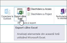 Butonul Export către Excel din SharePoint evidențiat în panglică
