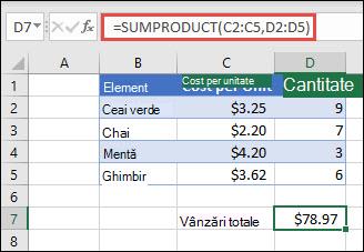 Exemplu de funcție SUMPRODUCT utilizată pentru a returna suma articolelor vândute atunci când este furnizat costul unitar și cantitatea.