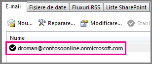 Un cont din caseta de dialog Setări cont din Outlook 2013