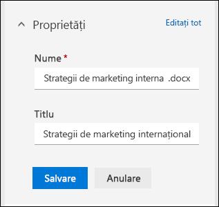 Editarea toate proprietățile pentru un fișier într-o bibliotecă de documente