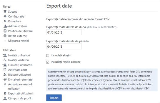 Pagina export, afișând opțiunile de export