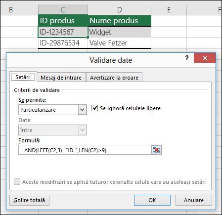 Exemplul 6: Formule în validarea de date