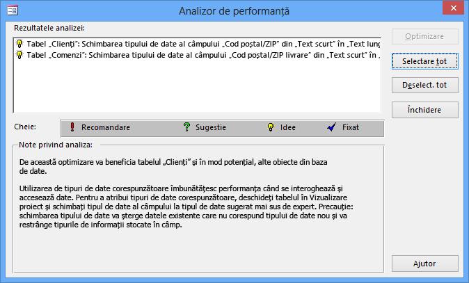 Caseta de dialog cu rezultatele Analizorului de performanță după ce rulează pe o bază de date Access.
