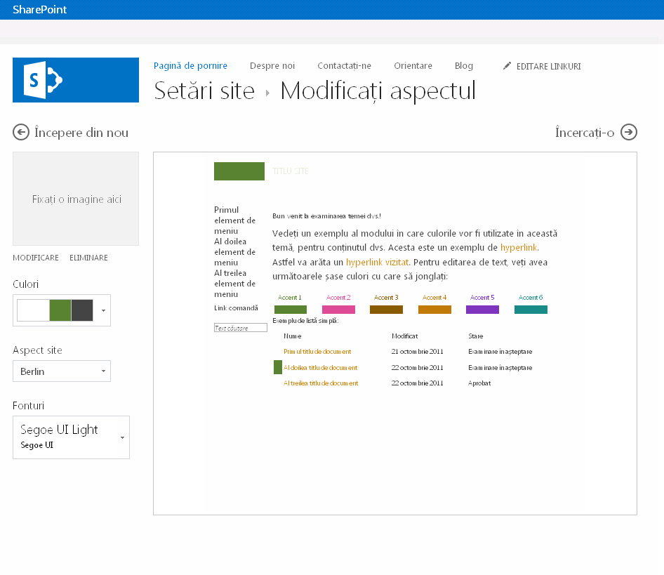 Modificați culoarea, aspectul și tema unui site de publicare SharePoint
