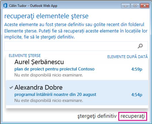 Caseta de dialog Recuperați elementele șterse din Outlook Web App
