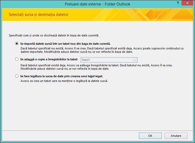 Selectați pentru a importa, a adăuga sau a crea o legătură la un folder Outlook.