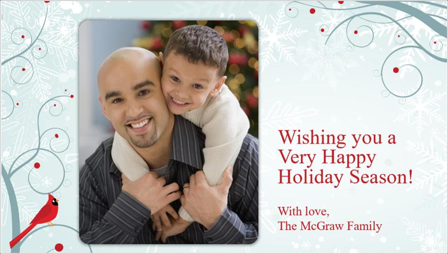 Imaginea unei cărți de vizită cu o fotografie de sărbători cu un tată și fiu