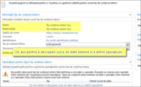 Captură de ecran a panoului Informații tip de conținut extern și linkul Clic aici pentru a descoperi surse de date externe și a defini operațiuni, utilizat pentru a efectua o conexiune BCS.