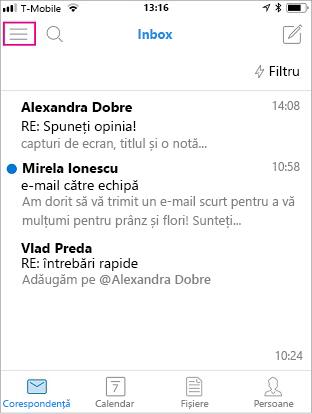 Ecranul de pornire al aplicației Outlook Mobile, cu butonul de meniu evidențiat