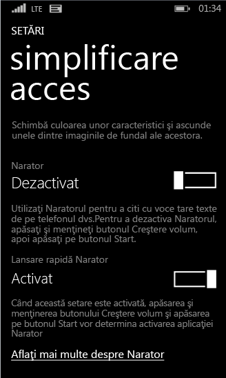 Setări de narator Windows Phone